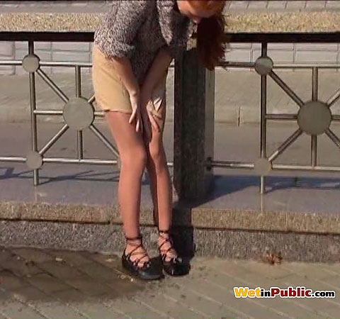 Piss in skirt in public