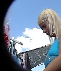 Blonde wears tiny panty and gets her upskirt shot