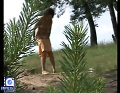 Outdoor voyeur spies after a cute pissing chick