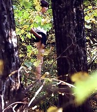 Spying on teen peeing in the forest