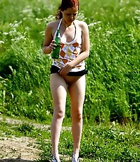 Yummy fresh redhead going commando pees outdoors