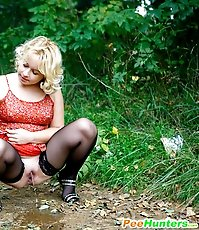 Hot blonde tart smokes and tinkles outdoors